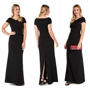 Adrianna Papell Draped Gown with Sequin Sleeve